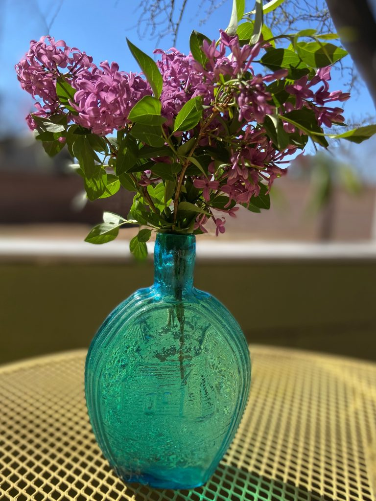 Photo of Lilacs in vase showing how to smell your way to better health.