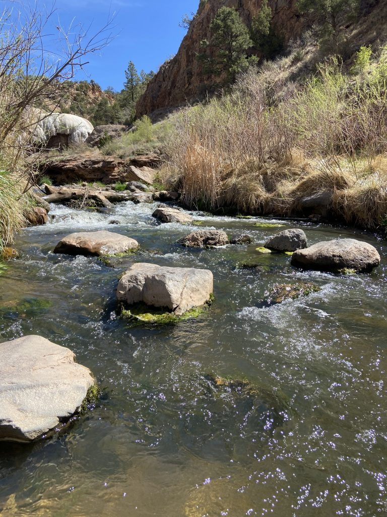 Photo of mountain stream showing natural sounds are healing.